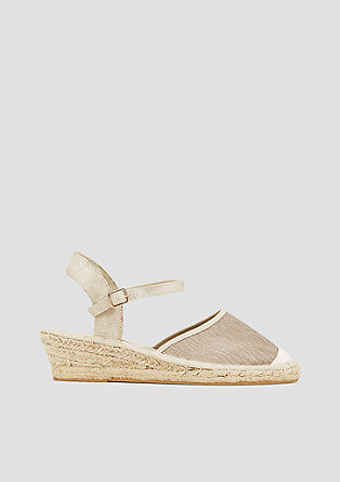 Wedge-Espadrilles mit Metallic-Effekt