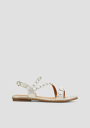 Metallic-Sandalen mit Schmuckperlen