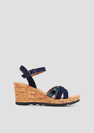 Keil-Sandalen aus Veloursleder