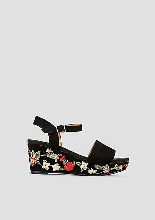 Keil-Sandalette mit Embroidery