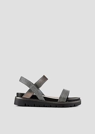 Sandalen met plateauzool en glitterbandjes