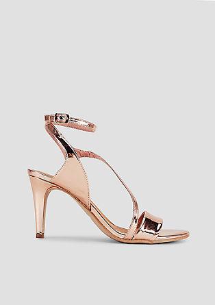 Metallic-Sandaletten mit Ankle-Straps