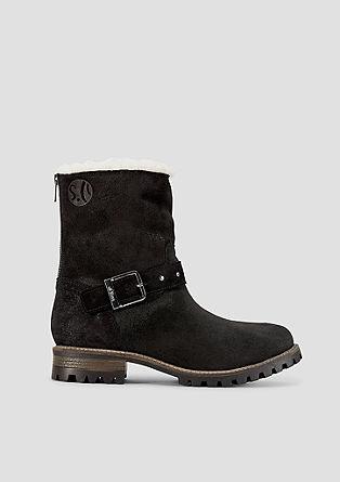 Toplo podloženi čevlji iz velurnega usnja