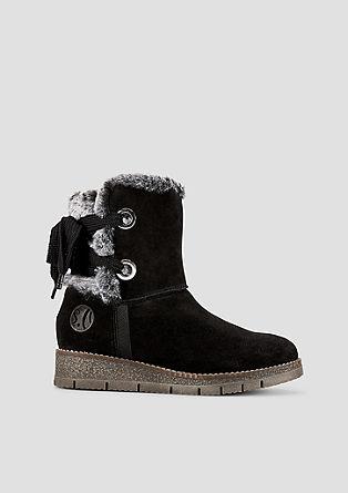 Suède boots met imitatiebont