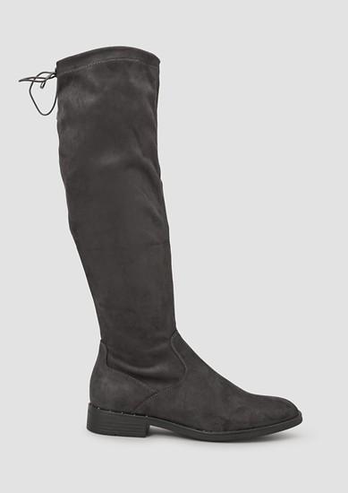 Velours-Stiefel mit Schleifen-Detail