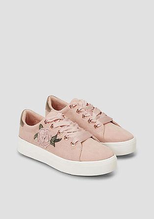Sneakers met bloemenapplicatie