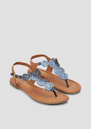 Leder-Sandalen mit Zierperlen