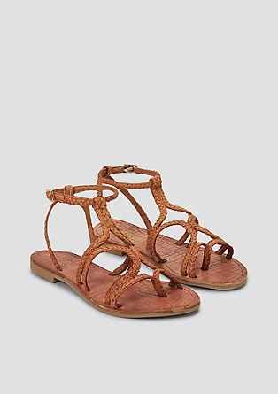 Gevlochten sandalen van leer