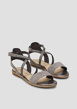 Leren sandalen met een metallic effect