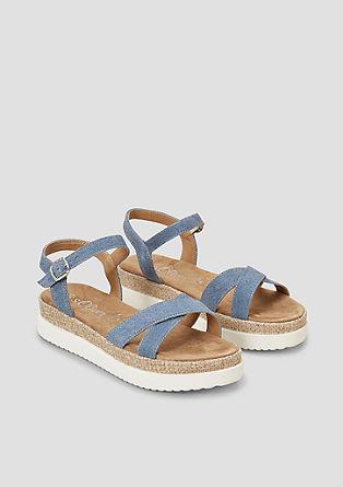 sandali s plato podplatom iz velurnega usnja