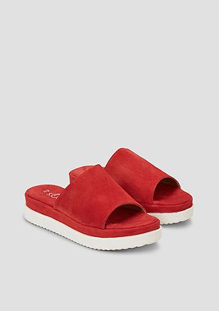Leren slippers met plateauzool