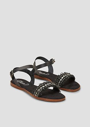 Leren sandalen met sierlijke studs