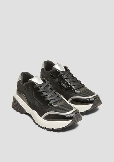 Chunky Sneaker im Materialmix
