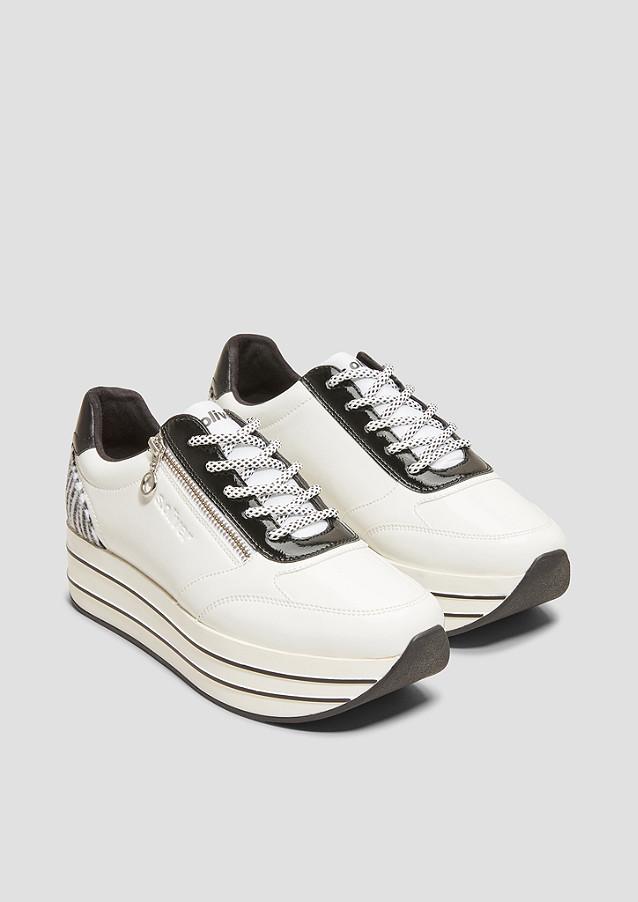 Sneaker, Schnürung, Reißverschluss, Kontrast Material, hoch, für Damen, WEIß, 39