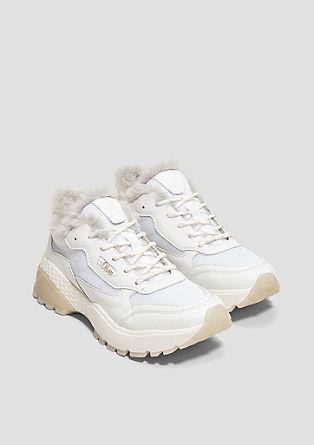 Chunky sneakers met imitatiebont