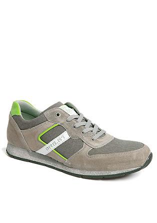 Sneaker in Leder-Textil-Mix