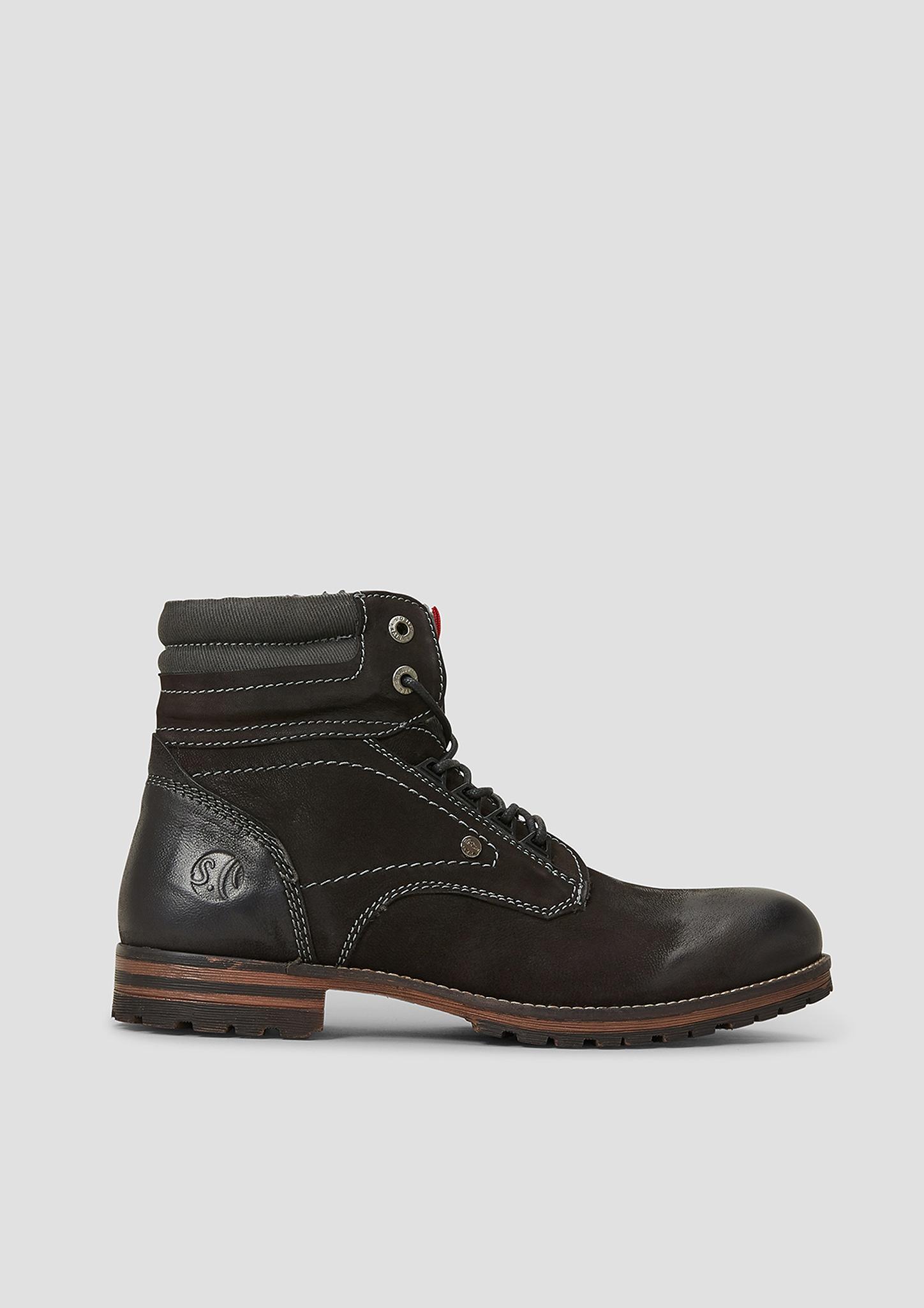 Boots | Schuhe | Grau/schwarz | Obermaterial aus echtleder und textil| futter aus leder und textil| decksohle aus leder| laufsohle aus synthetik | s.Oliver
