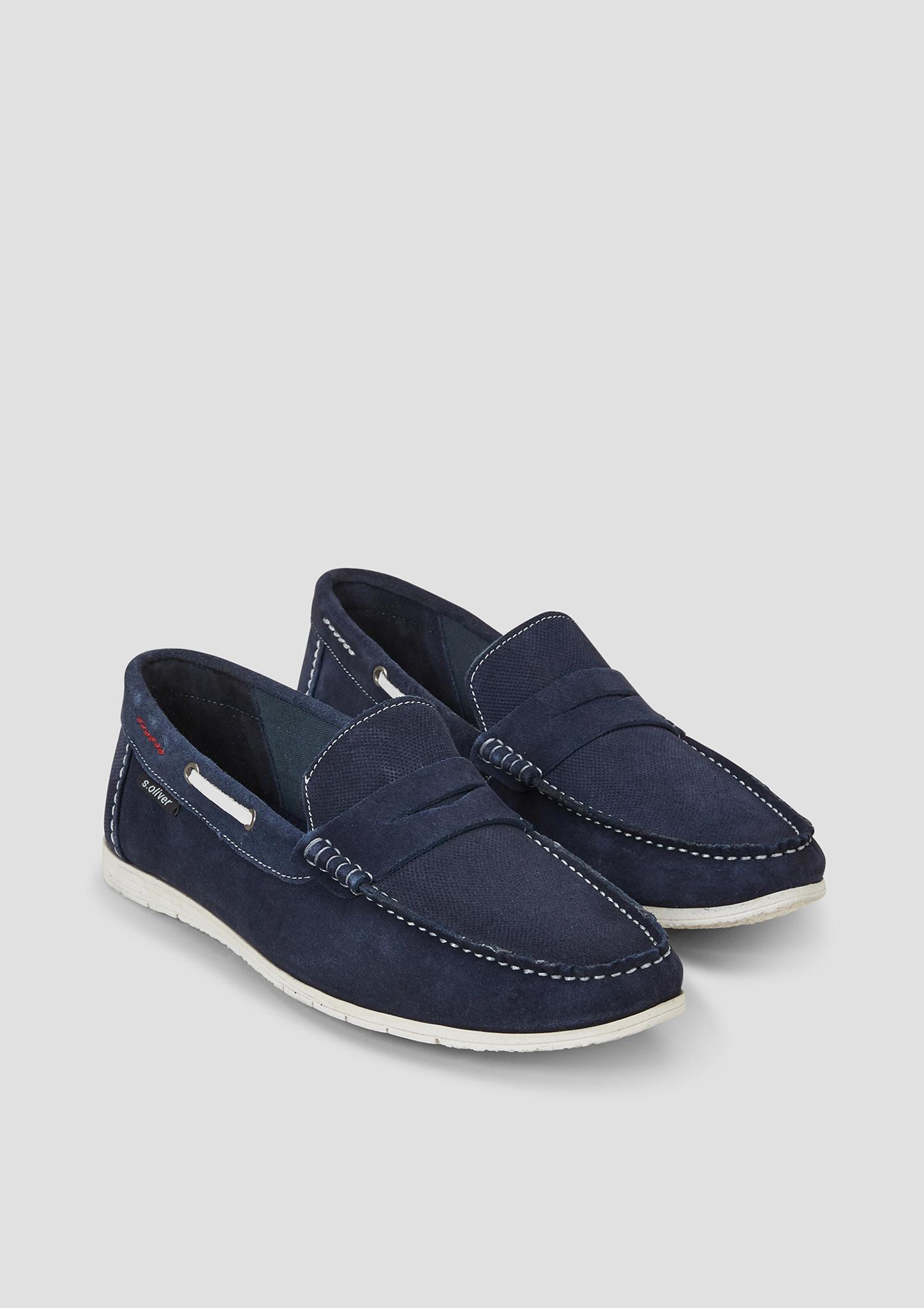 Leder-Slipper | Schuhe > Slipper | Blau | Obermaterial: leder| futter: textil| decksohle: textil| laufsohle: synthetik | s.Oliver