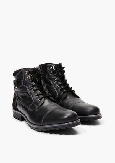Leder-Boots im Fabric-Mix