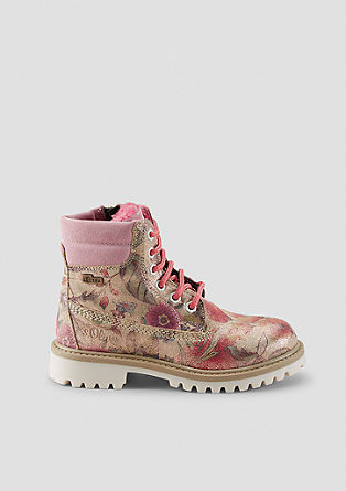 Leren boots met gekleurd accent