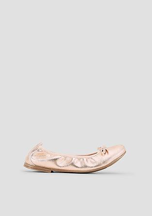 Ballerinas aus Leder mit Glitzer
