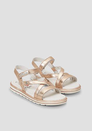 Riemchen-Sandalen mit Metallic