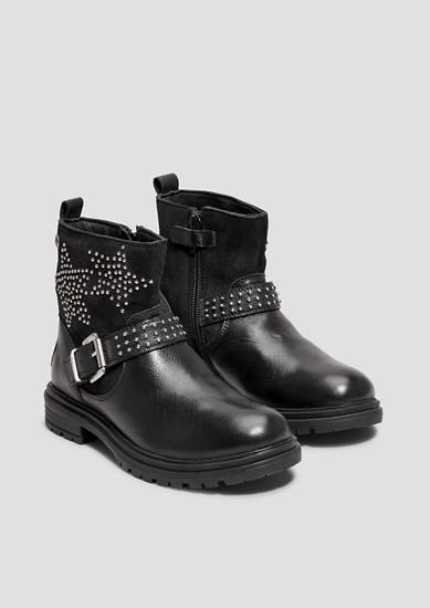 Boots en cuir à rivets appliqués de s.Oliver