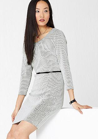 Jacquard jurk met riem