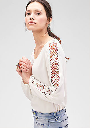 Blouse top with an openwork pattern from s.Oliver