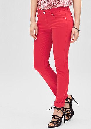 Slim: Jeans aus Baumwollsatin