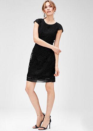Spitzen-Kleid mit Chiffon-Details