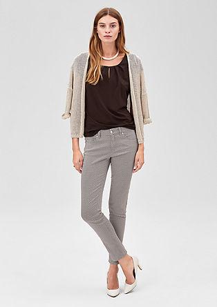 Slim: 7/8-Jeans mit Minimalmuster