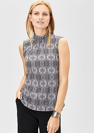 Patterned blouse top with band collar from s.Oliver