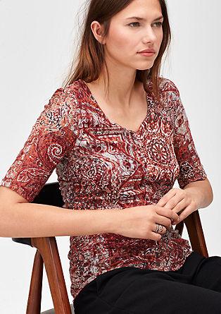 Kanten shirt met motiefprint