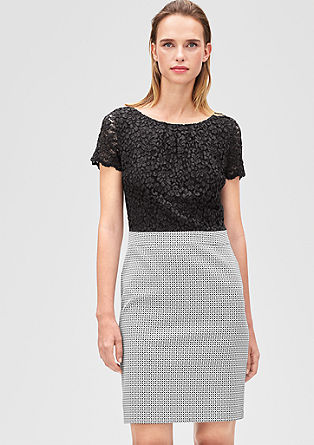 Jacquard sheath dress with a lace top from s.Oliver