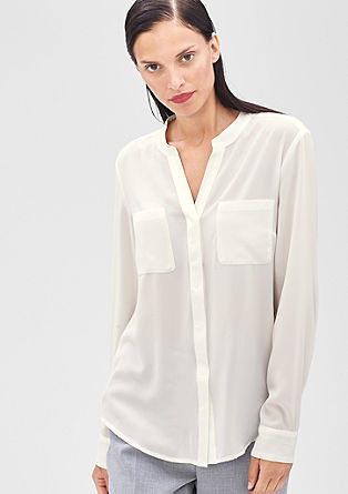 Crêpe blouse with grosgrain ribbon detail from s.Oliver