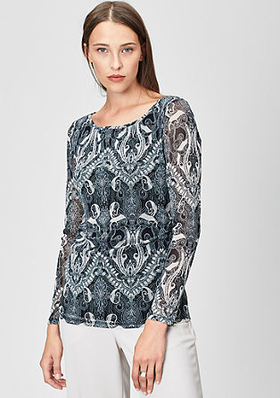 Mesh-Shirt mit Allover-Print