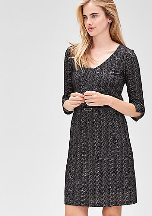 Stretchy dress with a woven pattern from s.Oliver