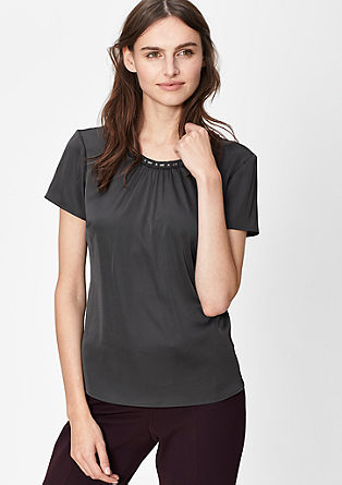 Blouse with a gemstone collar from s.Oliver