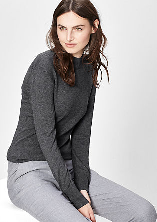 Fine knit jumper with a stand-up collar from s.Oliver