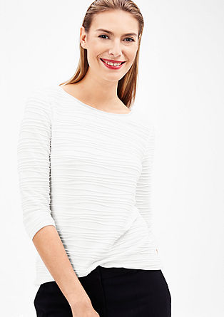 Textured top with 3/4-length sleeves from s.Oliver