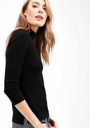 Turtleneck-Pullover mit 3/4-Arm