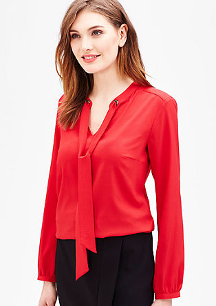 Fine crêpe blouse with a pussycat bow from s.Oliver