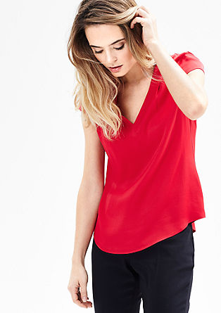 Satin blouse with a V-neckline from s.Oliver