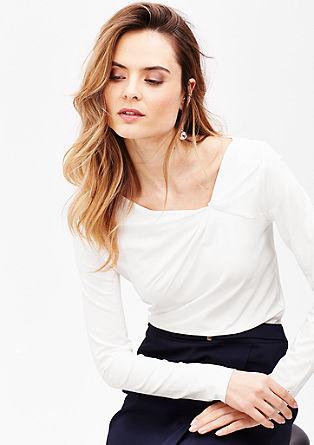 Majica dolg rokav z nagubanim detajlom