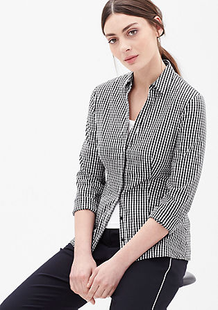 Stretch blouse in a gingham pattern from s.Oliver