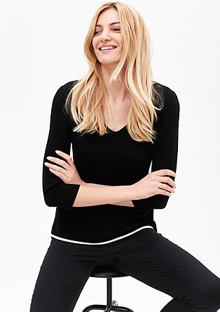 Stretch-Shirt in Black & White
