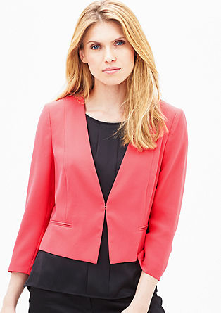 Fitted crêpe short blazer from s.Oliver