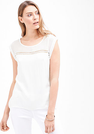 Blouse top with a lace border from s.Oliver