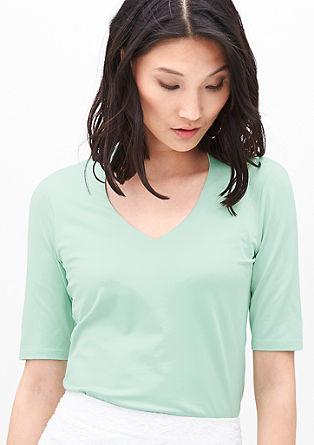 Stretch-Shirt mit V-Neck